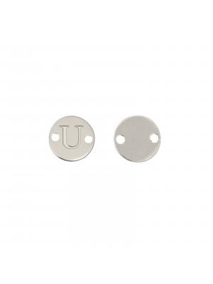 Elemento a doppio foro, in Acciaio, a forma di medaglia tonda con lettera U, 8 mm.