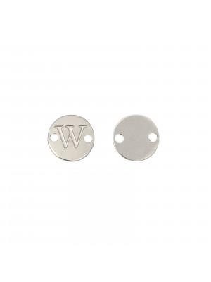 Elemento a doppio foro, in Acciaio, a forma di medaglia tonda con lettera W, 8 mm.