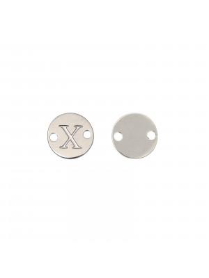 Elemento a doppio foro, in Acciaio, a forma di medaglia tonda con lettera X, 8 mm.