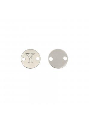 Elemento a doppio foro, in Acciaio, a forma di medaglia tonda con lettera Y, 8 mm.