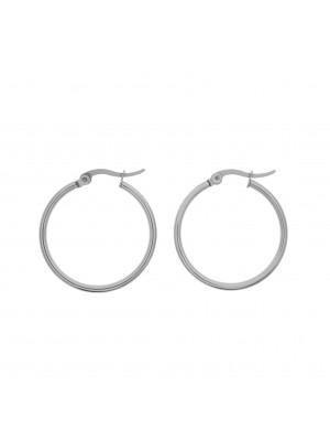 Cerchio per orecchino, in Acciaio, con chiusura a scatto, diametro 28 mm.