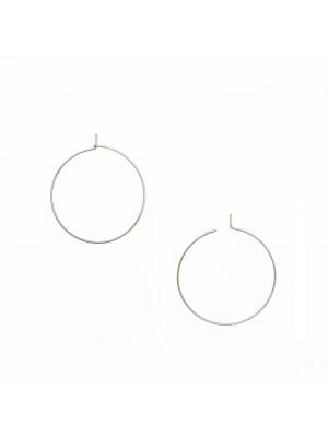 Cerchio per orecchino, liscio, con chiusura a gancio, in Acciaio, diametro 30 mm.