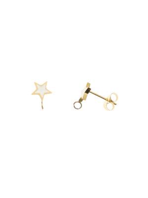 Perno a forma di stella, 7x10 mm., in Acciaio, base Oro Lucido, colore Bianco