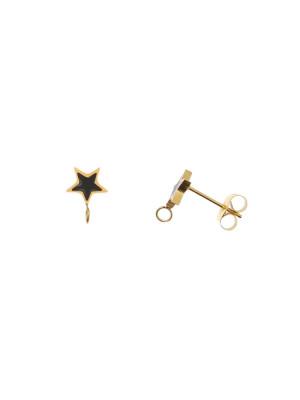 Perno a forma di stella, 7x10 mm., in Acciaio, base Oro Lucido, colore Nero