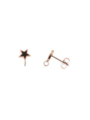 Perno a forma di stella, 7x10 mm., in Acciaio, base Oro Rosa, colore Nero