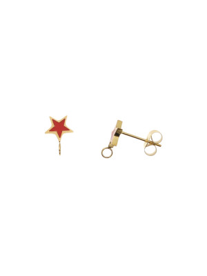 Perno a forma di stella, 7x10 mm., in Acciaio, base Oro Lucido, colore Rosso