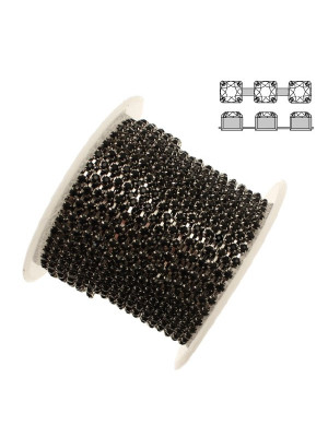 Catena strass, con cristalli Preciosa, base in metallo colore argentato rodio, colore strass JET