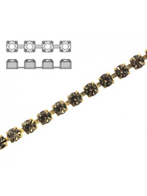 Catena strass, con cristalli Preciosa, base in metallo colore ottone, colore strass BLACK DIAMOND