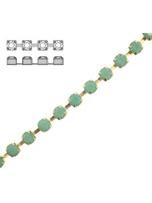 Catena strass, con cristalli Preciosa, base in metallo colore ottone, colore strass PACIFIC OPAL