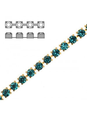 Catena strass, con cristalli Preciosa, base in metallo colore ottone, colore strass BLUE ZIRCON
