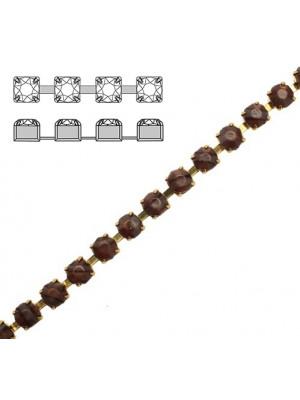 Catena strass, con cristalli Preciosa, base in metallo colore ottone, colore strass GRIGIO MARMORIZZATO IN MARRONE