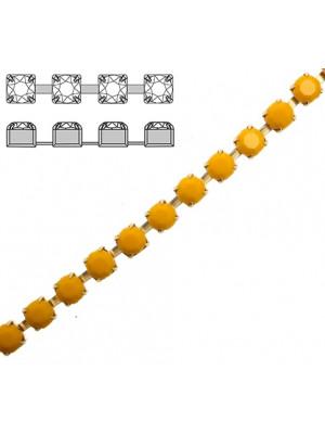 Catena strass, con cristalli Preciosa, base in metallo colore ottone, colore strass GIALLO OCRA