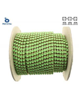 Catena strass, con cristalli Preciosa, base in metallo colore ottone, colore strass PERIDOT MATT
