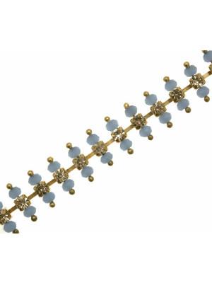 Catena strass composta con rondelline sfaccettate LIGHT ZAFFIRO OPALE in cristallo suoi lati del castone, colore strass CRYSTAL