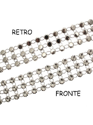 Catena strass, formata da rivoli da 10 mm. (SS45), colore strass CRYSTAL