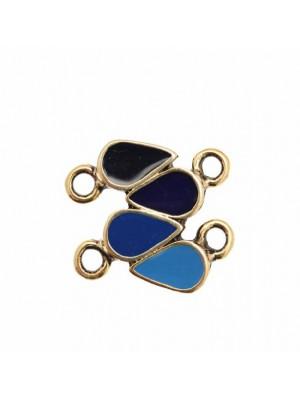 Ciondolo smaltato a forma di barra con 4 gocce sullo stesso tono di colore e 4 anelli 23x15 mm. Base oro antico