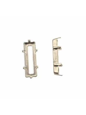 Castone per gemma o cabochon a baguette rettangolare da 21x7 mm.