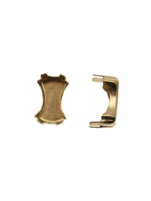 Castone per gemma o cabochon a fiocco, 14x9,5 mm.
