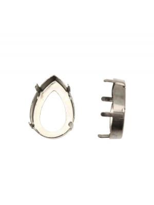 Castone per gemma o cabochon a goccia da 18x25 mm.