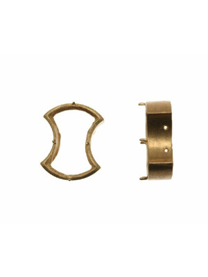Castone con montatura ad incasso per gemma o cabochon a fiocco da 20x13,5 mm.