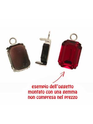 Porta gemma o cabochon rettangolare (misura 18x13 mm.) a forma di castone chiuso