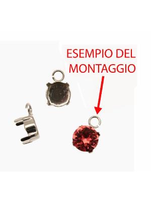 Porta gemma tonda conica SS39 (8,2 mm) a forma di castone chiuso con anellino tondo apribile da 4 mm.