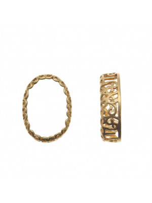 Porta gemma ovale (18x13 mm.) a forma di castone filigranato, 15x20 mm alto 6 mm.