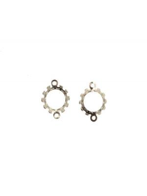 Porta gemma o cabochon tondo, con doppio anello, 12x16 mm.
