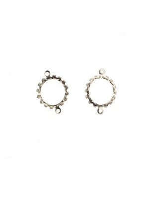 Porta gemma o cabochon tondo, con doppio anello, 21x16 mm.