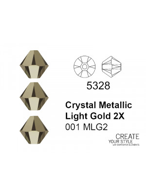 Swarovski Bicono CRYSTAL METALLIC LIGHT GOLD 2X - 5328