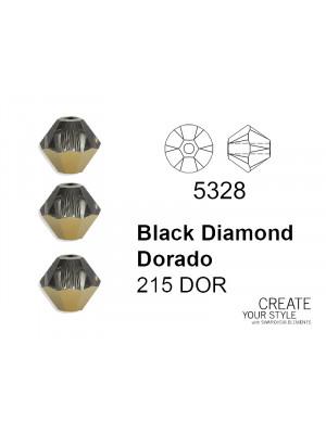 Swarovski Bicono BLACK DIAMOND DORADO - 5328
