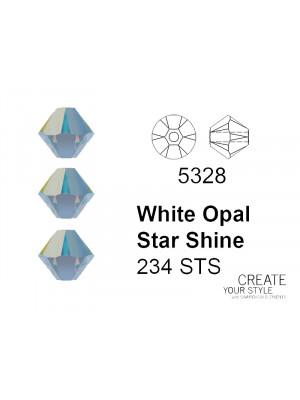 Swarovski Bicono WHITE OPAL STAR SHINE - 5328
