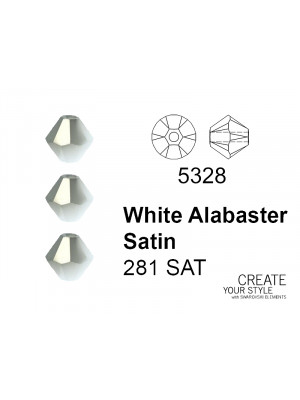 Swarovski Bicono WHITE ALABASTER SATIN - 5328