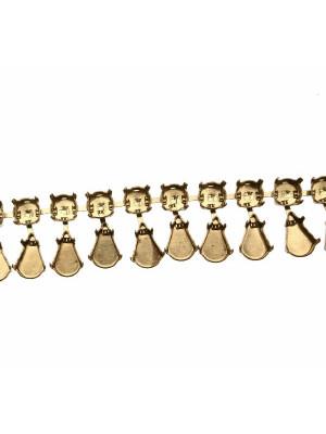 Catena porta strass, composta da castone tondo e castone a goccia sotto, base Ottone