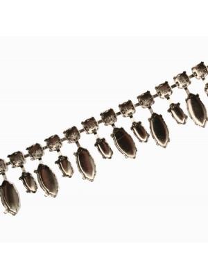 Catena porta strass, composta da castone tondo e castone a navetta alternata media e grande, base Argentato Rodio