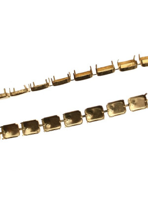 Catena porta gemme rettangolari, 18x13 mm., base Ottone