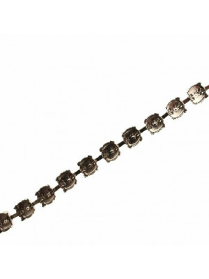 Catena porta strass, 7,2 mm. (SS34), base Argentato Rodio