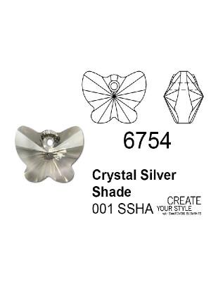 Swarovski Ciondolo Farfalla CRYSTAL SILVER SHADE - 6754