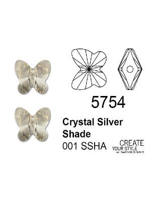 Swarovski Ciondolo Farfalla (foro passante) CRYSTAL SILVER SHADE - 5754