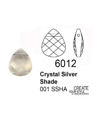 Swarovski Ciondolo Goccia a petalo CRYSTAL SILVER SHADE - 6012