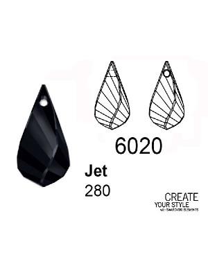 Swarovski Ciondolo Goccia ritorta JET - 6020