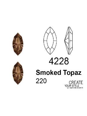 Swarovski Gemma a Navetta SMOKED TOPAZ - 4228