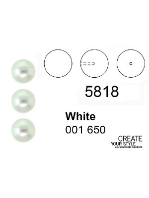 Swarovski Perla (mezzo foro) WHITE PEARL - 5818