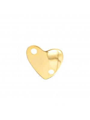 Accessorio a forma di cuore pieno, leggermente curvo, con due fori, 30x34 mm.
