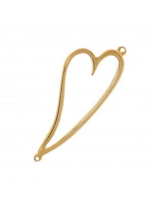 Accessorio a forma di cuore stilizzato gigante, vuoto al centro, con due anelli, 25x65 mm.