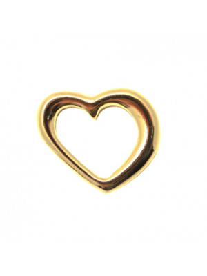 Accessorio a forma di cuore, storto liscio, vuoto all'interno, 20x18 mm.