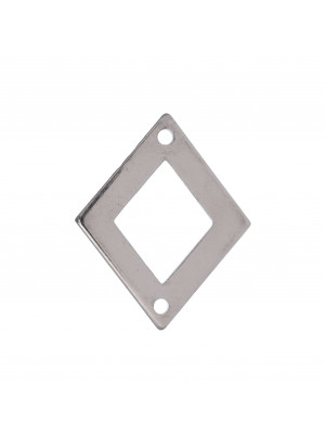 Rombo liscio, piatto e sottile, forato al centro, con due fori, 20x25 mm.