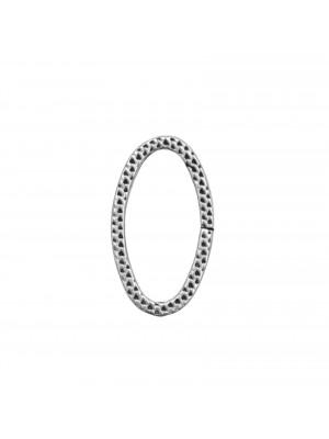 Anello ovale chiuso, piatto, con disegno a nido d'ape, 28x16 mm.