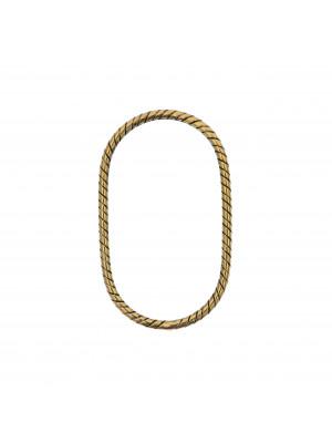 Anello ovale chiuso sottile zigrinato, 40x20 mm.