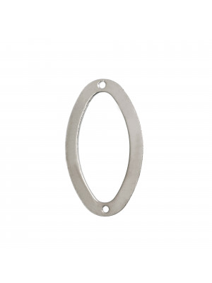 Anello ovale chiuso liscio piatto sottile liscio con due fori ai lati, 35x20 mm.
